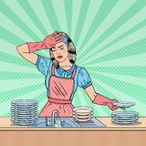 Pop Art Tired Housewife Washing Dishes at the Kitchen Stock Photography