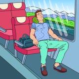 Pop Art Tired Man Sleeping im Zug und in der hörenden Musik Tourismus, Sommer-Reise Stockbilder