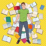 Pop Art Tired Student Lying on the Floor among Books. Overworked Young Man Preparing for Exams. Education Concept. Vector illustration Stock Photo