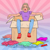 Pop Art Tired Woman in the Box with Different Clothes. Moving to new House. Vector illustration Stock Photos
