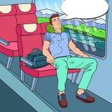 Pop Art Tired Young Man Sleeping im Zug und in der hörenden Musik Tourismus, Sommer-Reise Stockfotos