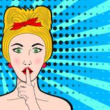 Pop art top secret girl. Young blonde woman holds index fin royalty free illustration