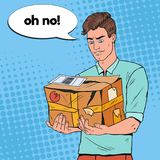 Pop Art Unhappy Man Holding Damaged Parcel. Unprofessional Delivery Service. Guy with Cracked Package. Vector illustration Stock Photography