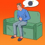 Pop Art Unhappy Man Hurts from Stomach Ache. Sick Guy Sitting on Couch at Home. Vector illustration Royalty Free Stock Photos