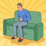 Pop Art Unhappy Man Suffering from Stomach Ache Stock Image