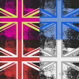 Pop Art Union Jack Flags. A set of four grunge distressed Union Jack flags of Britain Stock Image