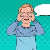 Pop Art Upset Little Boy Crying. Sad Child Cry with Tears. Screaming Kid Facial Expression. Vector illustration stock illustration