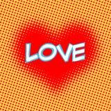 Pop-art van de de inschrijvings retro stijl van het liefde het rode hart Royalty-vrije Stock Afbeeldingen