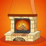 Pop art vector. A brick fireplace burns a tree. Works and heats. The background is red. Pop art vector illustration. A brick fireplace burns a tree. Works and Stock Image
