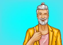 Pop art vector hipster winks and shows thumbs up vector illustration
