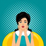 Pop art vector illustration, bright colours, pin up style, surprised woman. Stock Photography