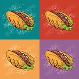 Pop art vector illustration of hot dog. Fast food cartoon background. For identify the restaurant, packaging, menu design, fabric texture royalty free illustration