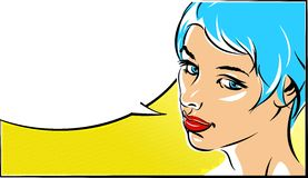 Pop art vector illustration of a woman  face Stock Photo