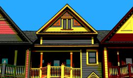 Pop art victorian house tops Stock Images