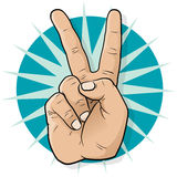 Pop Art Victory Hand Sign. stock illustrationer