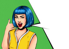 Pop Art Vintage advertising poster comic girl with speech bubble. Pretty girl showing call me gesture royalty free illustration