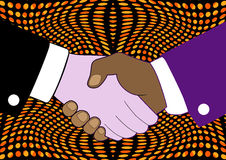 Pop art vintage hand shake Stock Image