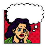 Pop art vintage  illustration of sad broken-hearted lovesick girl crying Stock Images