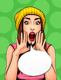 Pop Art Vintage poster comic girl with speech bubble. Pretty girl announcing, telling a secret, shouting or yelling. Pop Art Vintage advertising poster comic royalty free illustration