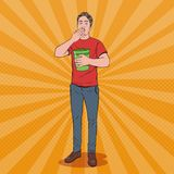 Pop Art Vomiting Man. Sick Guy Having Stomach Pain. Vector illustration Royalty Free Stock Photos