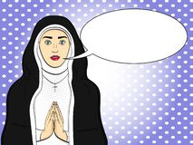 Pop art votaress, God sister prays. In black and white clothes. Theme of faith, woman raster Text bubble