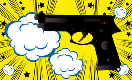 Pop art Weapon boom background banner template comics style vintage retro. Illustration Stock Image