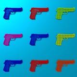 Pop art weapon framework illustration pattern. Low poly gun framework illustration pattern, pop art style Stock Images
