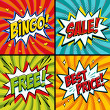 Pop-art web banners. Bingo. Free. Sale. Best price. Lottery game background. Comics pop-art style bang shape on a red. Twisted background. Ideal for web banners Stock Images