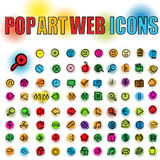 Pop art web icons. Web icons in pop art style, isolated and grouped objects over white background Royalty Free Stock Image