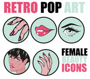 Pop Art Web site Icons Set - Beauty Woman Hand Nails Hair Face L Royalty Free Stock Photo