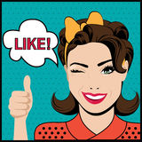 Pop art winking woman with thumbs up gesture. And speech bubble Royalty Free Stock Photography
