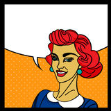 Pop art  woman. Pop art woman with speech bubble Stock Photography