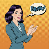 Pop Art Woman Applauding with Expression Bravo Royalty Free Stock Image