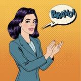Pop Art Woman Applauding met Uitdrukking Bravo Royalty-vrije Stock Afbeelding