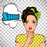 Pop art woman asking for silence Royalty Free Stock Images
