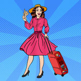 Pop Art Woman with Baggage and Travel Tickets Stock Photography