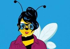Pop art Woman Bee Stock Photo