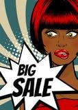 Pop art woman Big sale banner speech bubble Royalty Free Stock Photos