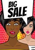 Pop art woman Big sale banner speech bubble Stock Photos