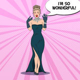 Pop Art Woman in Black Dress with Diamond Jewelry Royalty Free Stock Image