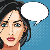 Pop art woman bubble speech dotted background. Vector illustration eps 10 Stock Photography