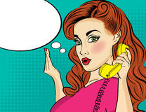 Pop art  woman chating on retro phone . Comic woman with speech Royalty Free Stock Photography