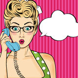 Pop art  woman chatting on retro phone . Comic woman with speech. Pop art  woman chatting on retro phone  . Comic woman with speech bubble. Vector illustration Royalty Free Stock Photo