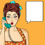 Pop art  woman chatting on retro phone . Comic woman with speech. Pop art  woman chatting on retro phone  . Comic woman with speech bubble. Vector illustration Stock Photos
