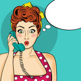 Pop art  woman chatting on retro phone . Comic woman with speech Royalty Free Stock Image