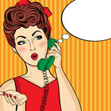 Pop art  woman chatting on retro phone . Comic woman with speech Stock Photo