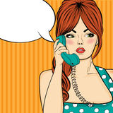 Pop art  woman chatting on retro phone . Comic woman with speech Royalty Free Stock Photo