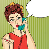 Pop art  woman chatting on retro phone . Comic woman with speech Stock Photography