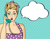 Pop art woman chatting on retro phone stock illustration