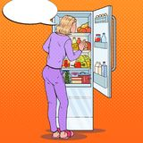 Pop Art Woman Choosing Food from the Fridge. Healthy Eating, Dieting Concept. Vector illustration stock illustration